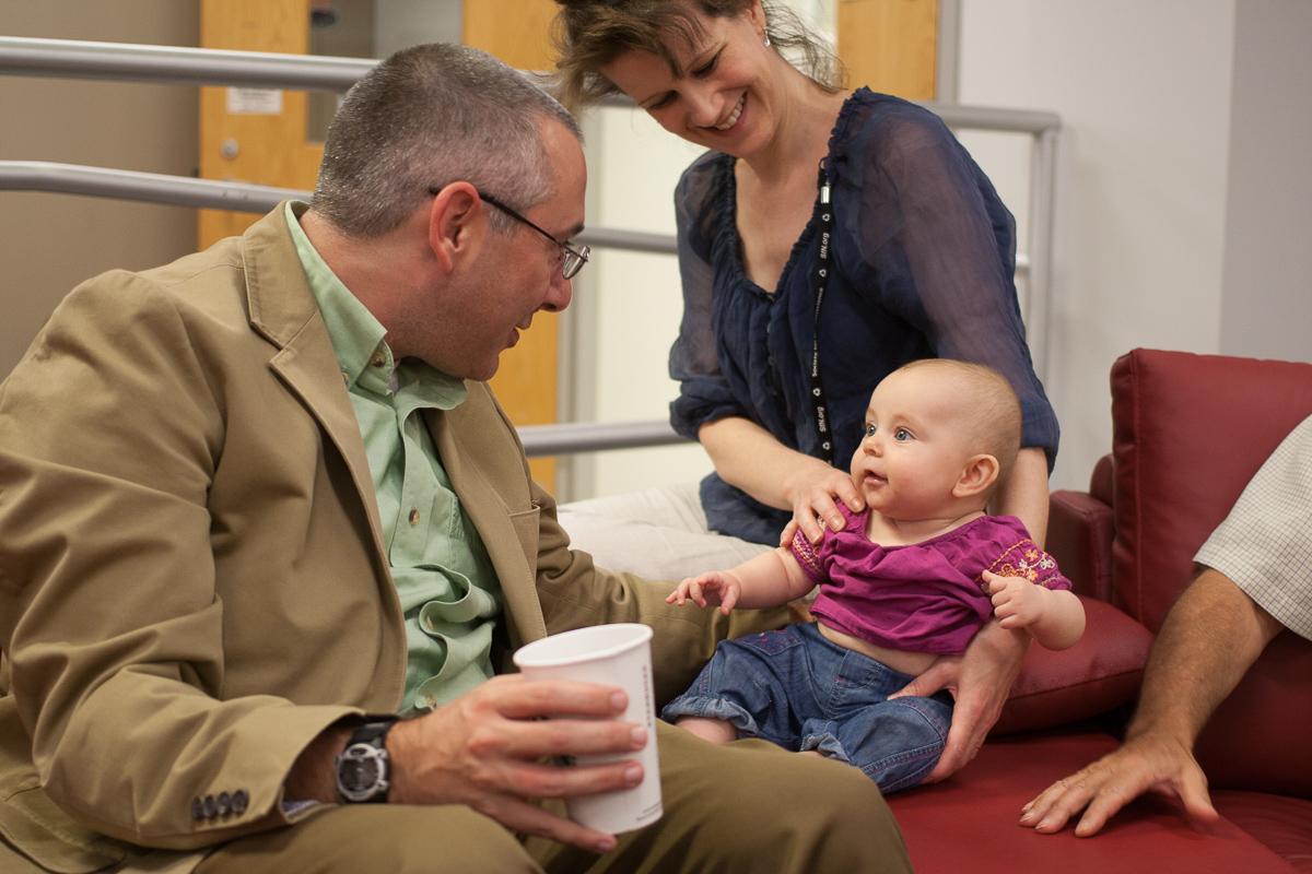 Dr. Butera Greets Junior HBBL Member Elyse during His Visit   (Photo Credit: Craig Nordham)