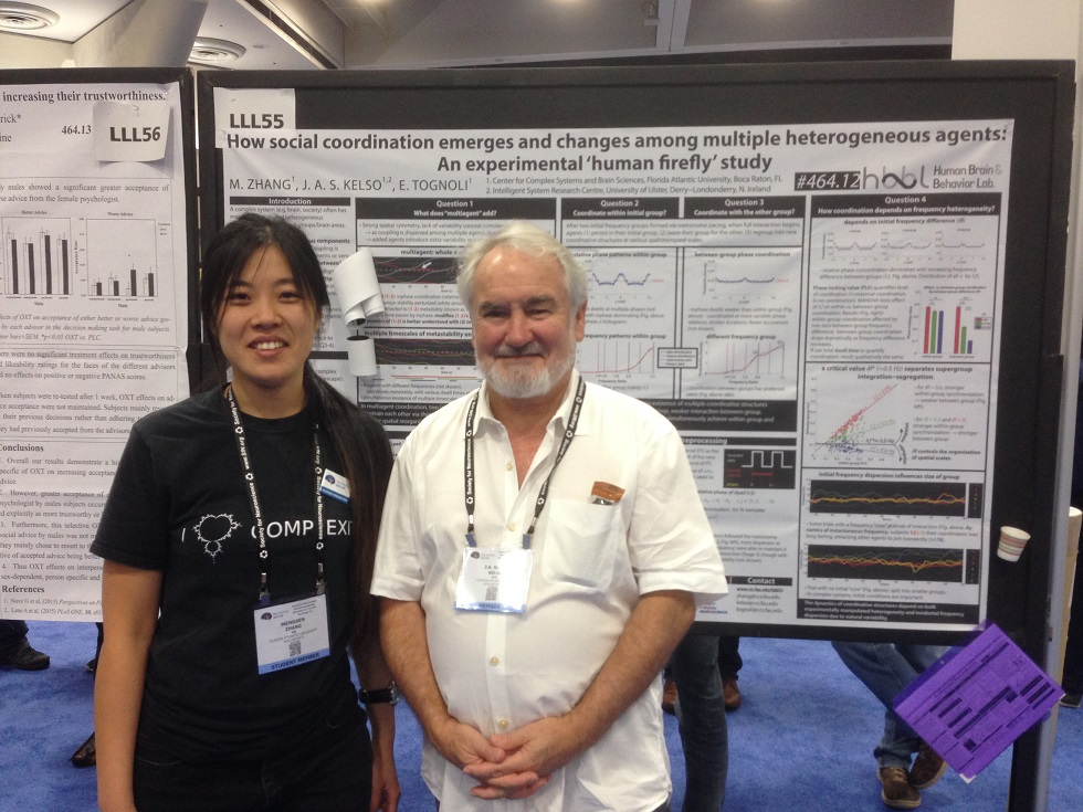 Mengsen Zhang (Left) and Dr. J. A. Scott Kelso (Right) at SfN2016 Poster Session.