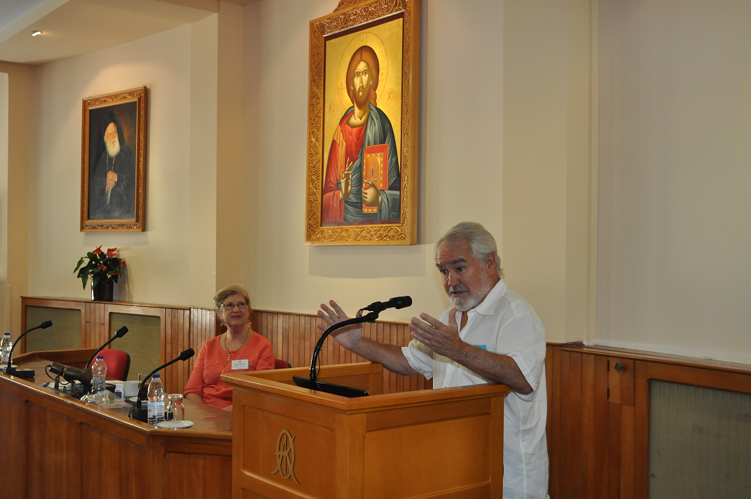 Dr. Kelso giving a lecture at the 9th Olympiad of Mind at the Orthodox Academy of Crete.